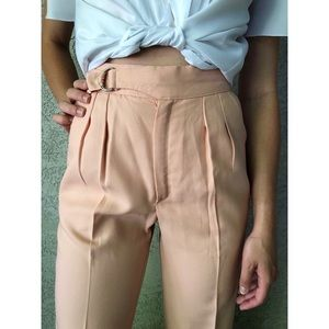 [vintage] 70s pink pleated high waist trousers
